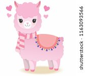 cute pink llama with scarf | Shutterstock . vector #1163093566