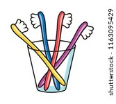 vector colorful toothbrushes in ... | Shutterstock .eps vector #1163095429