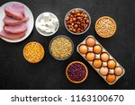 healthy food. products rich... | Shutterstock . vector #1163100670