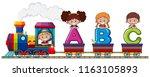 children on alphabet train... | Shutterstock .eps vector #1163105893