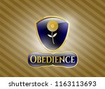 golden emblem with flower icon ... | Shutterstock .eps vector #1163113693