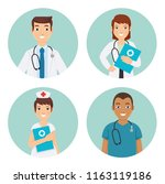male and female medical staff ... | Shutterstock .eps vector #1163119186
