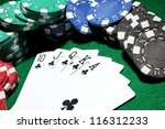 Cards and chips for poker on...