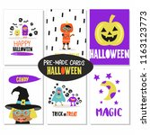 set of vector cards. happy... | Shutterstock .eps vector #1163123773