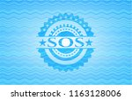 sos sky blue water wave badge... | Shutterstock .eps vector #1163128006