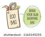 no plastic  bring your own bag...   Shutterstock .eps vector #1163145253