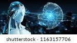 white robot on blurred... | Shutterstock . vector #1163157706
