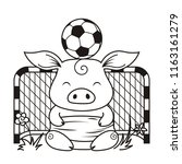 cute cartoon pig with a soccer... | Shutterstock . vector #1163161279
