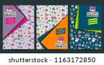 a set of birthday flyers....   Shutterstock .eps vector #1163172850