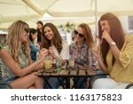 pretty fashionable young girls... | Shutterstock . vector #1163175823