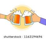people hands holding beer... | Shutterstock .eps vector #1163194696