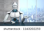 a white robot in the business... | Shutterstock . vector #1163202253