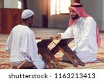 two religious muslim man...   Shutterstock . vector #1163213413