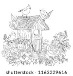 coloring page for adults  birds ... | Shutterstock .eps vector #1163229616