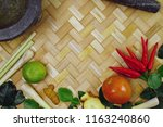thai ingredients for thai food .... | Shutterstock . vector #1163240860