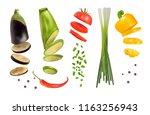 set of vegetables. pepper ... | Shutterstock .eps vector #1163256943