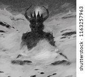 demon meditation in the... | Shutterstock . vector #1163257963