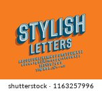 vector stylish font. 3d retro... | Shutterstock .eps vector #1163257996