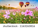 colorful hot air balloons... | Shutterstock . vector #1163263816