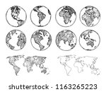 globe sketch. hand drawn earth... | Shutterstock .eps vector #1163265223