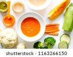 cooking vegetable puree for... | Shutterstock . vector #1163266150