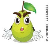 Illustration Of A Pear On A...