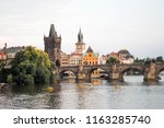 charles bridge  karluv most  in ... | Shutterstock . vector #1163285740