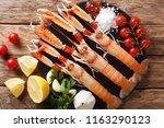 raw nephrops norvegicus  norway ... | Shutterstock . vector #1163290123