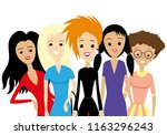 group of woman on a white... | Shutterstock .eps vector #1163296243