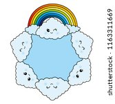 clouds and a rainbow around a... | Shutterstock .eps vector #1163311669