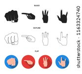 closed fist  index  and other... | Shutterstock .eps vector #1163324740