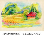 landscape with houses ... | Shutterstock . vector #1163327719