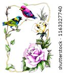 exotic birds with rose flowers... | Shutterstock . vector #1163327740