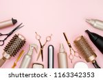 various hair dresser tools on... | Shutterstock . vector #1163342353