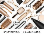 full frame of professional hair ... | Shutterstock . vector #1163342356
