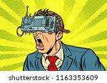 businessman in vr glasses... | Shutterstock .eps vector #1163353609
