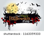 happy halloween sign and...   Shutterstock .eps vector #1163359333