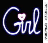 girl neon heart black | Shutterstock . vector #1163362639