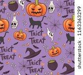 halloween seamless pattern... | Shutterstock .eps vector #1163363299