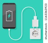 smartphone charger adapter and... | Shutterstock .eps vector #1163363923