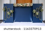 wedding backdrop with flower... | Shutterstock . vector #1163370913