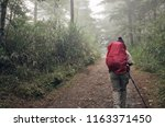mountain climbers walking on... | Shutterstock . vector #1163371450