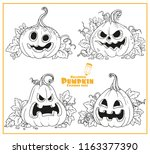 four lantern from pumpkin with... | Shutterstock .eps vector #1163377390