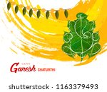 leafy god ganesha on grungy... | Shutterstock .eps vector #1163379493