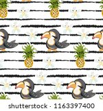 exotic pattern with cute toucan ... | Shutterstock .eps vector #1163397400