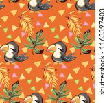 exotic pattern with cute toucan ... | Shutterstock .eps vector #1163397403