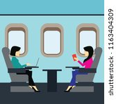 passengers working on an... | Shutterstock .eps vector #1163404309