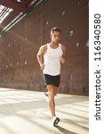 caucasian male athlete doing...   Shutterstock . vector #116340580