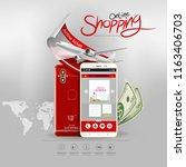 shopping online on website or... | Shutterstock .eps vector #1163406703