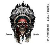 illustration of indian skull... | Shutterstock .eps vector #1163410069